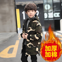 儿童外套 男童加厚加棉迷彩双面衣2020童装男童新款韩版冬款儿童中大童连帽风衣