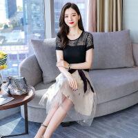 蕾丝连衣裙2019夏季新款流行女装韩版气质修身网纱短袖中长裙 黑色