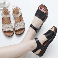 妈妈鞋凉鞋软底平底中老年人女鞋子夏季新款中年舒适奶奶