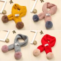 宝宝围巾婴儿秋冬男童女童针织毛线保暖围脖儿童毛球脖套潮流