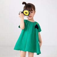 【秒杀价:129元】马拉丁童装女小童连衣裙2020夏新款可拆卸水果造型领圈抽褶短袖裙