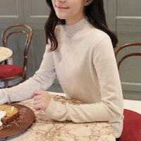2019秋冬季女装半高领打底衫长袖针织衫修身纯色韩版新款毛衣女 S 建议(90-110)斤