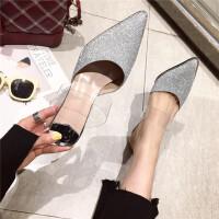 亮片包头透明带凉鞋女性感细跟后空高跟鞋2019新款时尚半拖鞋潮