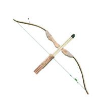 儿童弓箭玩具射击道具无杀伤力吸盘弓箭竹制木质弓箭cos 尼龙弦大号弓箭1米(中间无孔) 木质桶