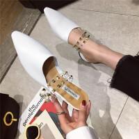 包头半拖鞋女2019春季新款懒人鞋外穿尖头铆钉低跟时尚拖鞋穆勒鞋