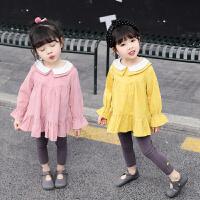 女孩棉双领女宝宝婴幼儿装长袖女童秋公主连衣裙衫1-2-3-4岁