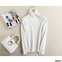 秋冬新款堆堆领纯羊绒衫女士短款高领毛衣韩版宽松针织羊毛打底衫