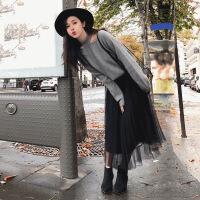 2019新款新款秋冬女装气质女神洋气甜美毛衣网纱半身裙两件套装 灰色 黑纱裙+灰上衣