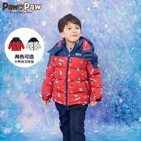 【秒杀价:389】PawinPaw卡通小熊童装冬季男童羽绒服连帽短款白鸭绒