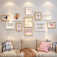 实木相框挂墙组合创意连体7寸摆台画框洗照片加像框照片墙免打孔 A款 (白原) 一套组合价