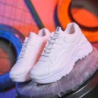 新款冬季女鞋潮韩版运动鞋ins百搭休闲鞋透气低帮跑步鞋学生厚底 白色 F1612K