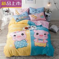 棉制卡通床上用品四件套男孩棉床笠款女孩儿童床单被套3三件套4定制