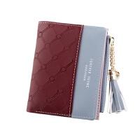 女士钱包短款零钱包撞色拉链扣子包小钱包