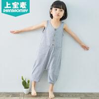 夏季新款儿童连体睡衣无袖背心男女童宝宝连体睡衣护肚