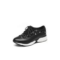 红蜻蜓旗下品牌COOLALA春季新款时尚韩版钉珠亮片拼接休闲低帮运动鞋女