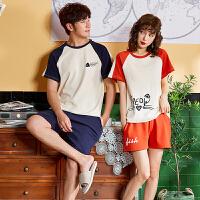 新款情侣睡衣夏季短袖韩版可外穿全棉男女休闲家居服套装