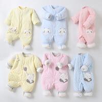 婴儿连体衣春秋装宝宝哈衣夹棉衣服保暖加棉男女新生儿薄棉衣秋衣