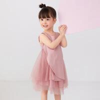 【秒杀价:149元】马拉丁童装女小童连衣裙2020夏新款不规则拼接网纱粉色公主背心裙