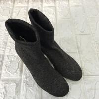 针织毛线弹力短靴女靴子秋冬季中筒靴2018新款粗跟百搭高跟袜子鞋