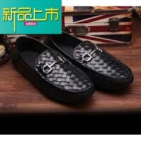 新品上市19新款春季男鞋牛皮编织鞋男士商务透气鞋英伦休闲懒人鞋