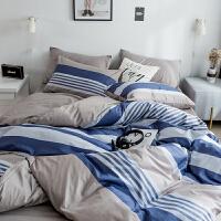 棉四件套条格床品套件1.8/1.5m床上用品被套床单宿舍三件套k
