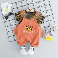 男宝宝夏装套装0男宝1短袖2岁3条纹背带裤两件套婴儿童衣服半