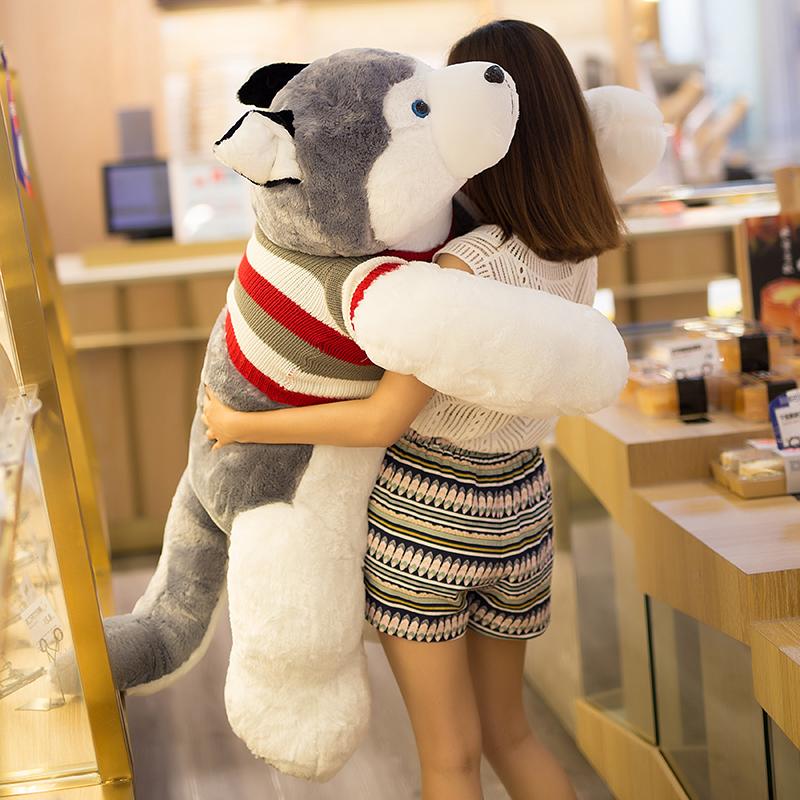 二哈毛绒玩具哈士奇狗狗布娃娃男生睡觉抱的公仔抱枕女孩可爱懒人 灰色狗 1.9米送20cm哈士奇+玫瑰