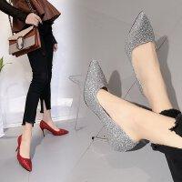 欧美高跟鞋女时尚亮片银色红色婚鞋伴娘鞋9cm浅口婚纱照浅口单鞋