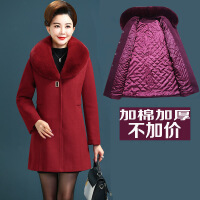 秋冬中老年女装毛呢外套40-50岁上衣加棉加厚妈妈装呢子大衣大码