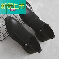新品上市冬季马丁靴男短靴英伦尖头中帮型师靴子时尚拉链高帮皮鞋潮 黑色