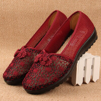 夏天老年女鞋老北京布鞋老人纱网凉鞋胖脚肥脚奶奶休闲鞋子中年鞋