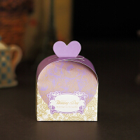 紫色花纹爱心修饰结婚礼喜糖礼盒 请帖请柬喜帖 紫色花纹