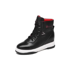 红蜻蜓旗下品牌COOLALA女鞋秋冬休闲鞋板鞋女鞋子高帮鞋HNC6761