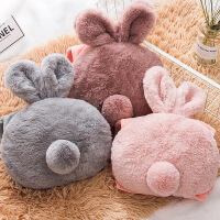 毛绒兔尾巴充电热水袋小兔耳朵电暖宝宝双插手已女电暖袋