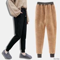 冬季加绒加厚运动裤女羊羔绒外穿保暖棉裤小脚休闲卫裤宽松长裤子