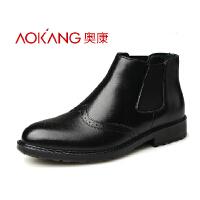 奥康 布洛克雕花男鞋韩版男靴子潮流皮靴男棉鞋男式男靴