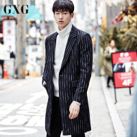 GXG男装 冬季修身中长款时尚厚毛呢大衣保暖外套#64826019