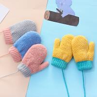 1-3岁冬季保暖儿童手套加绒双层纯色可爱男女童挂脖小孩连指宝宝