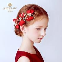 女孩女童礼服头饰发卡红色发夹花童头饰儿童头饰公主发饰