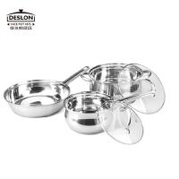 �允览� 不锈钢厨房三剑客厨具套装 平底煎炒锅汤锅奶锅组合DFS-TZ020