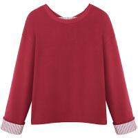 新年特惠套头卫衣女秋装2019新款红色长袖宽松条纹拼接假两件上衣潮 红 色