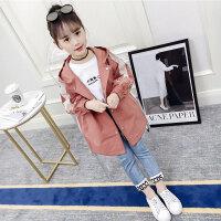 儿童风衣 女童中长款风衣2020秋季新款韩版女孩中大童洋气上衣儿童外套