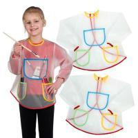 围兜画画衣绘画口水冬天儿童防水罩衣女宝宝布料透明薄款大码