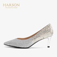 【 限时4折】哈森 2019秋季新款时尚格利特婚鞋女 尖头浅口细跟高跟鞋 HL91421