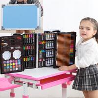 儿童水彩笔画画套装女孩幼儿园工具绘画笔礼盒小学生美术生日礼物 200件铝盒蓝色