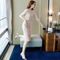 2019新款连衣裙秋装年新款女收腰显瘦气质冬季女神范两件套装裙子 中袖1现货