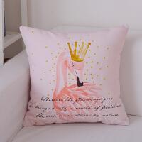 北欧沙发床头抱枕靠枕套 韩式现代简约粉红色火烈鸟腰枕靠垫含芯