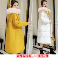 新年特惠棉衣中长款女士棉袄女装冬装新款棉袄女中长款2019冬季新款韩版正反两穿大毛领外套