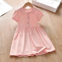 斯提妮女童连衣裙2021新款夏季宝宝短袖刺绣草莓暗扣公主裙儿童韩版裙子