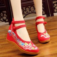 新款中国风民族绣花鞋老北京布鞋女高坡跟搭扣汉服鞋古装鞋单鞋子 红色 34